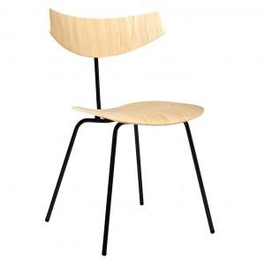 BIRD chair - Bleached oak, black lacquered steel