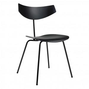 Chaise BIRD - Chêne teinté noir, acier vernis noir