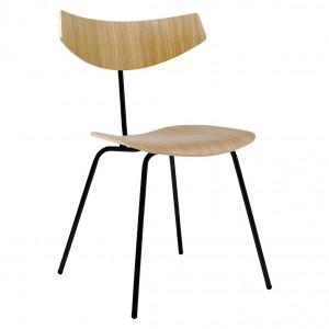 BIRD chair - Oak, black varnished steel