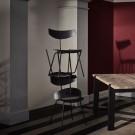 BIRD chair - Walnut, black lacquered steel