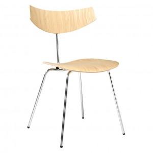 BIRD chair - Bleached oak, chrome