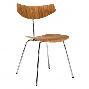 BIRD chair - Walnut, black lacquered steel