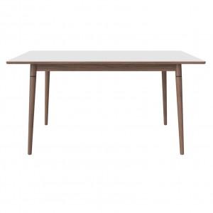 Table CONEY laminé blanc/noyer huilé