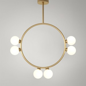 CIRCLE pendant - Brass, 6 Globes