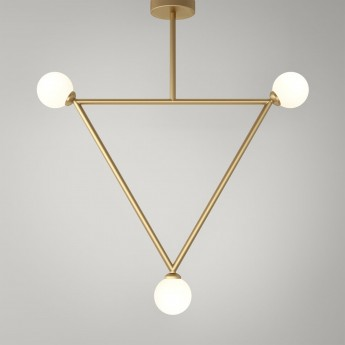 TRIANGLE pendant - Brass, 3 Globes