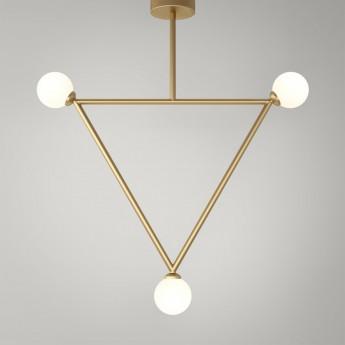 TRIANGLE pendant - Brass, 3 Globes