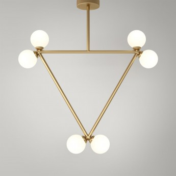 TRIANGLE pendant - Brass, 6 Globes