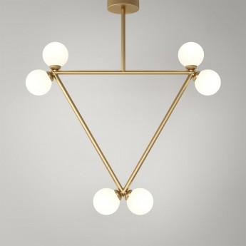 TRIANGLE pendant - Brass, 6 Globes
