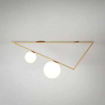 Plafonnier TRIANGLE 1 - Laiton, 2 Globes