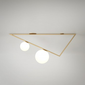 TRIANGLE ceiling - Brass, 2 Globes