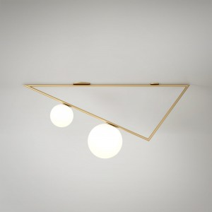TRIANGLE 1 ceiling - Brass, 2 Globes