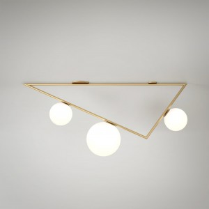 TRIANGLE 1 ceiling - Brass, 3 Globes