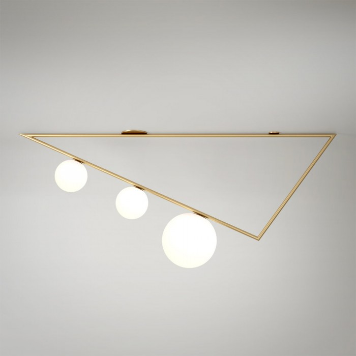 TRIANGLE 2 ceiling - Brass, 3 Globes
