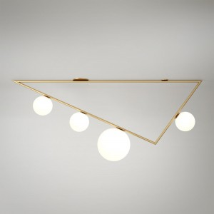 TRIANGLE 2 ceiling - Brass, 4 Globes