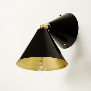Applique CONE - Noir/Laiton