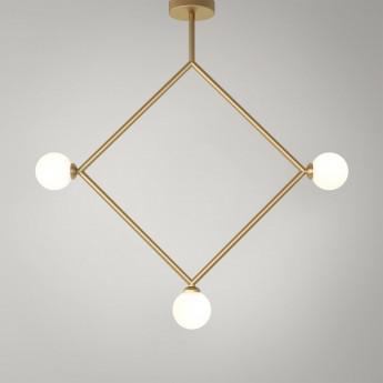 RHOMBUS pendant - Brass, 3 Globes