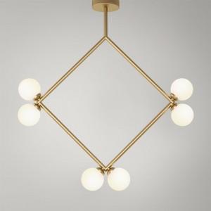 RHOMBUS pendant - Brass, 6 Globes