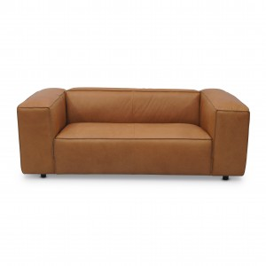 Canapé modulable DUNBAR - 2 places - Cuir terracotta