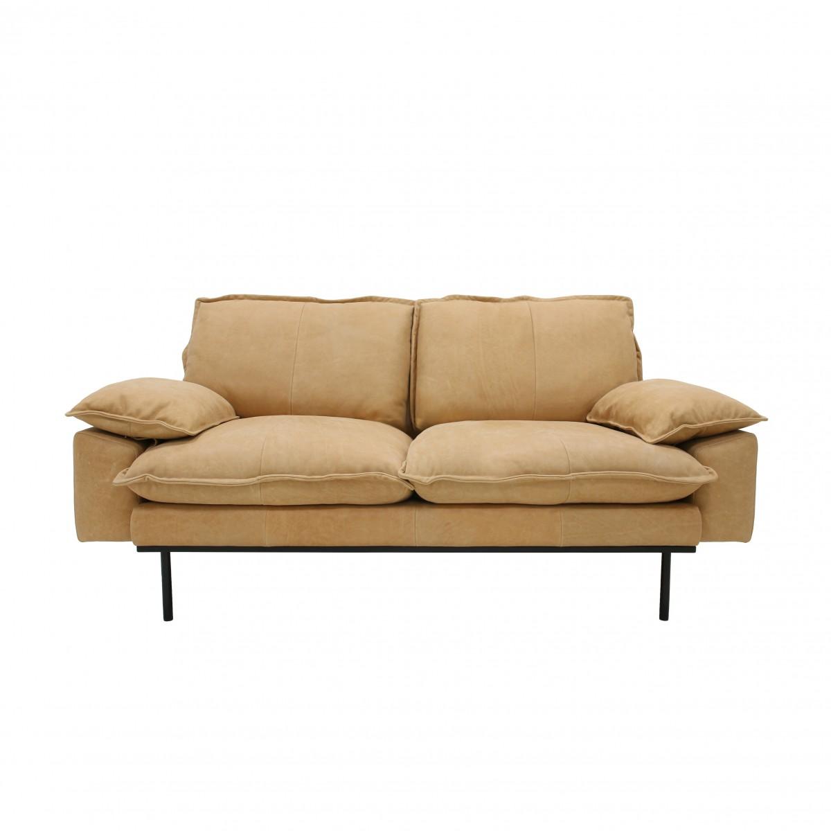 RETRO 2 seater leather sofa naturel - HK LIVING