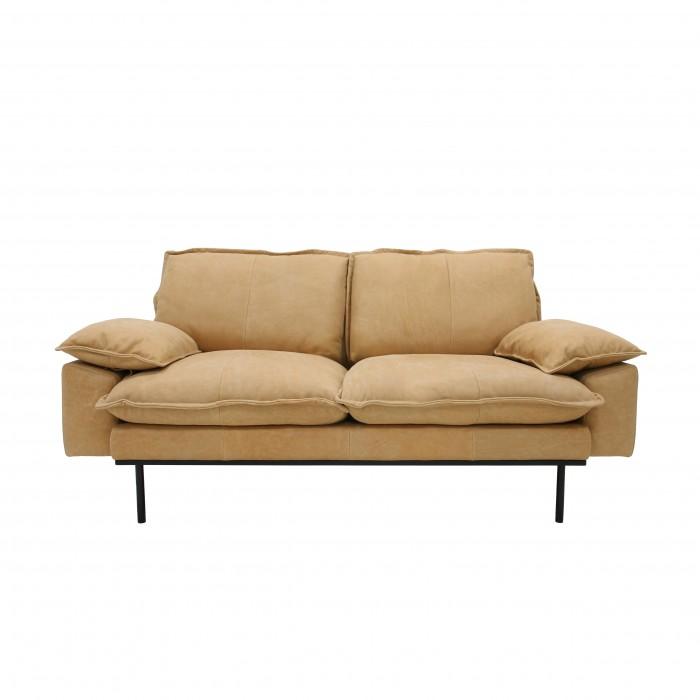 RETRO 2 seater leather sofa natural