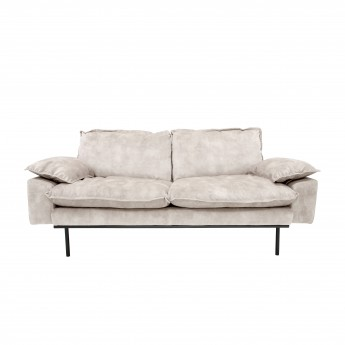 RETRO 2 seater velvet sofa cream white