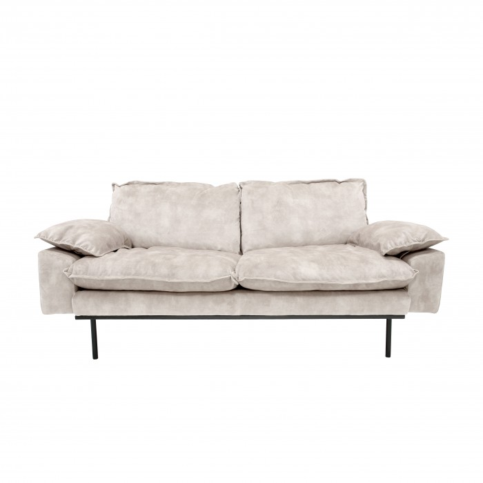 RETRO 2 seater velvet sofa cream white