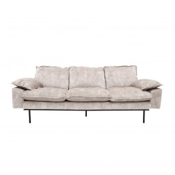 Nude velvet RETRO 3 seater sofa white cream