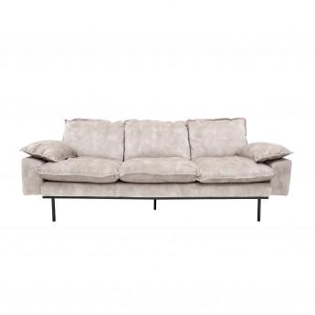 Nude velvet RETRO 3 seater sofa white cream