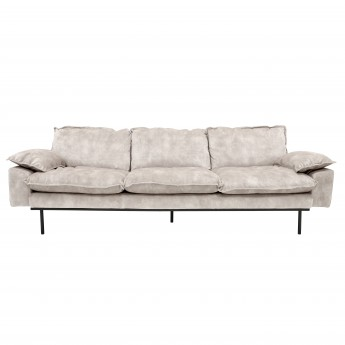 RETRO 4 seater sofa in velvet Nude color