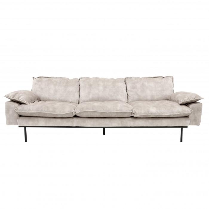 RETRO 4 seater sofa in velvet Nude color