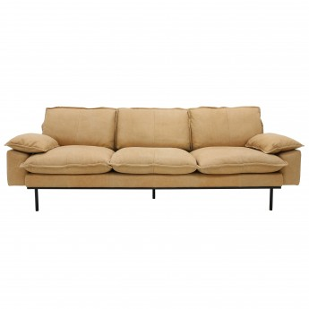 RETRO 4 seater leather sofa natural