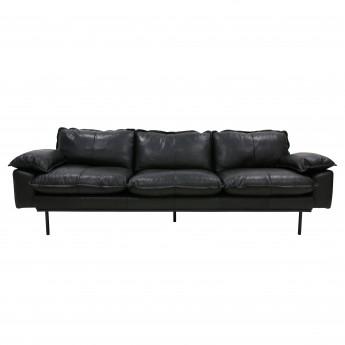 Canapé RETRO 4 places en cuir noir