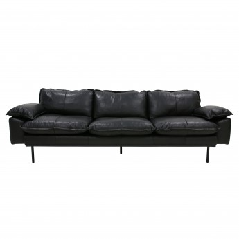 RETRO 4 seater leather sofa black