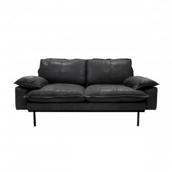 Canapé RETRO 2 places en cuir noir