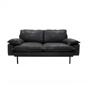 RETRO 2 seater sofa - Black leather