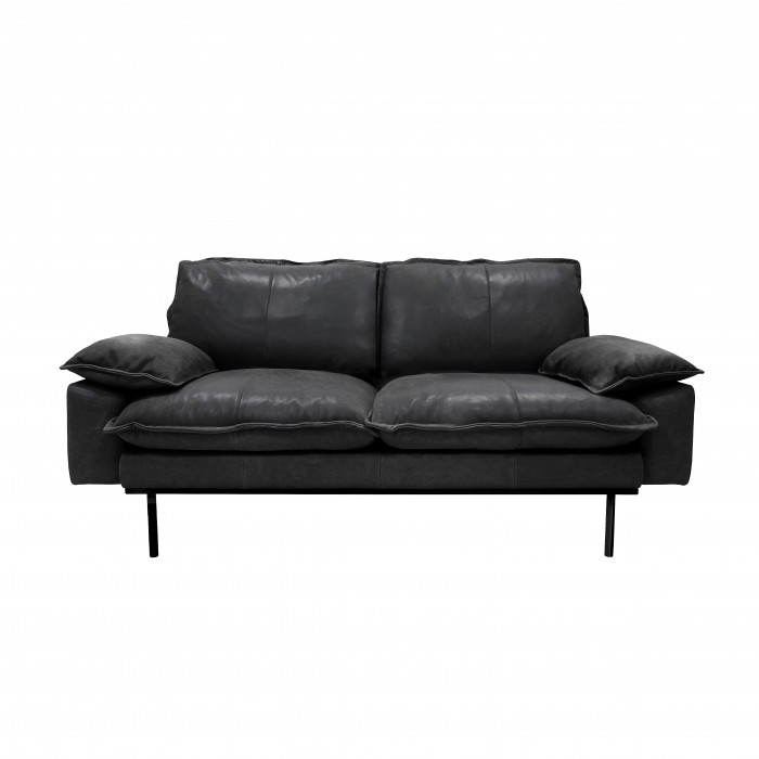 RETRO 2 seater leather sofa black