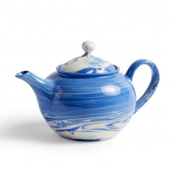 Blue MARBLED teapot