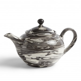 Black MARBLED teapot