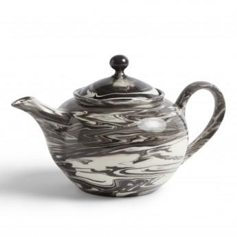 Black MARBLED teapot