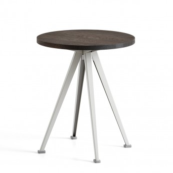 PYRAMID coffee table smoked oak and beige steel