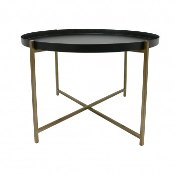 Table d'appoint laiton/noir - L
