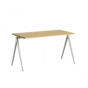 PYRAMID Table beige powder coated steel - clear lacquered