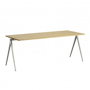 Table PYRAMID acier beige - chêne clair L