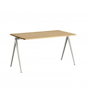 PYRAMID Table beige powder coated steel - clear lacquered M