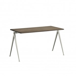 PYRAMID Table beige powder coated steel - smoked oiled oak