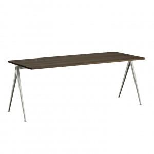 Table PYRAMID acier beige - chêne huilé L