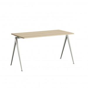 Table PYRAMID acier beige - chêne mat