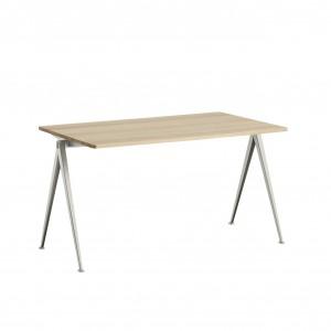 Table PYRAMID acier beige - chêne mat M