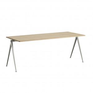 Table PYRAMID acier beige - chêne mat L