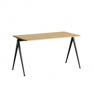PYRAMID Table black powder coated steel - clear lacquered